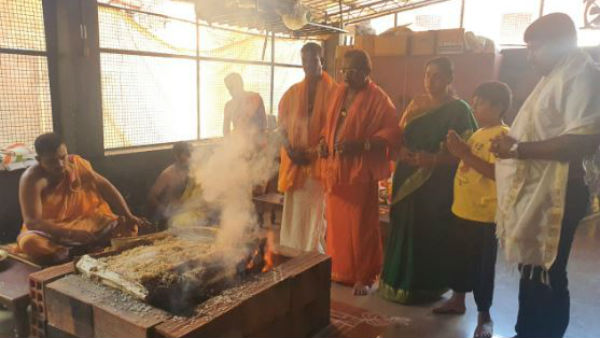 Nava Chandika Homa Performed In Kolluru Temple For Dk Shivakumar