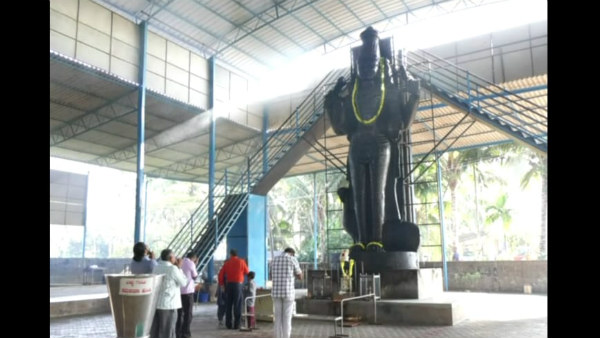 Devotees Did Pooja To 23 foot Monolithic Shani Statue In Udupi