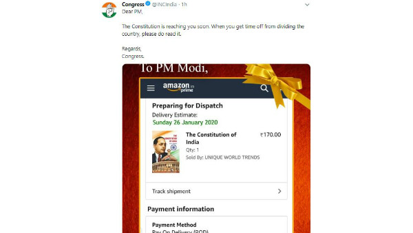Congress Party Book The Constitution Copy In Online For PM