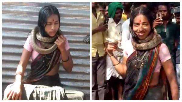 A Woman Entered The Temple With A Snake Wrapped Her Neck