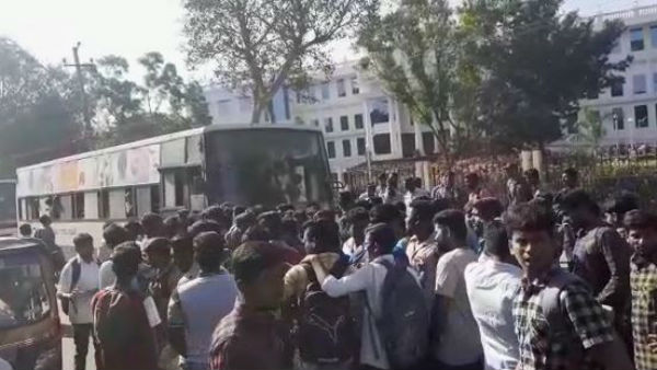 Student Injured By City Bus Protest In Bogadi Road
