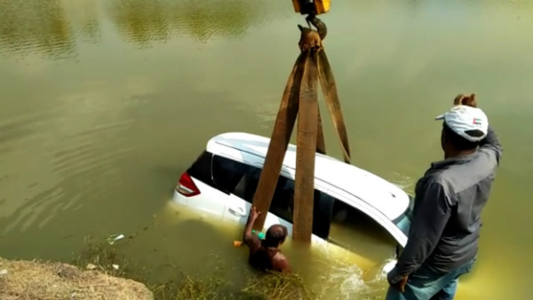 Car Jumped To Lake While Trail Driving Near Sirsi RTO Office
