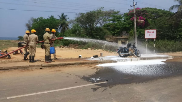 Fire In Running Bike Near Fish Market In Karwar