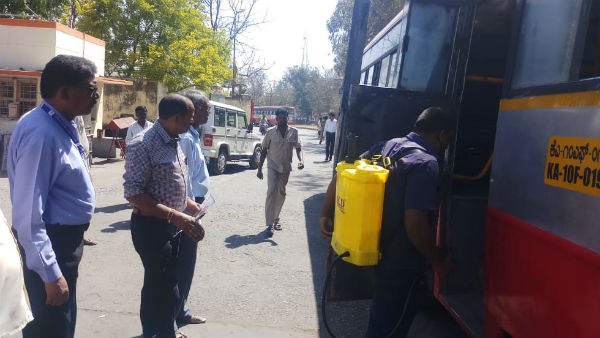 Dettol Spray To Buses In Gundlupete Due To Coronavirus Fear