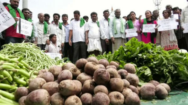 Farmers Protest By Giving Vegetables And Fuits Free In Bus Stand
