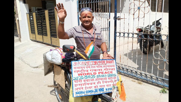 Nagaraj Gowda Travelling By Cycle To Bring Peace In Country