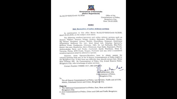 Bengaluru Police department clear instructions to facilitate the operations of e-commerce retailers