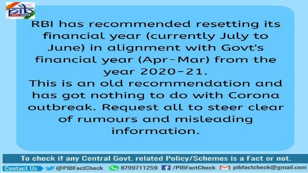 Fake: RBI did not reset its financial year due to coronavirus