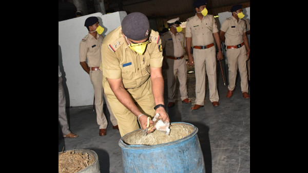 Police Burn 32 Kg Drugs Which Was Collected From Different Parts Of District