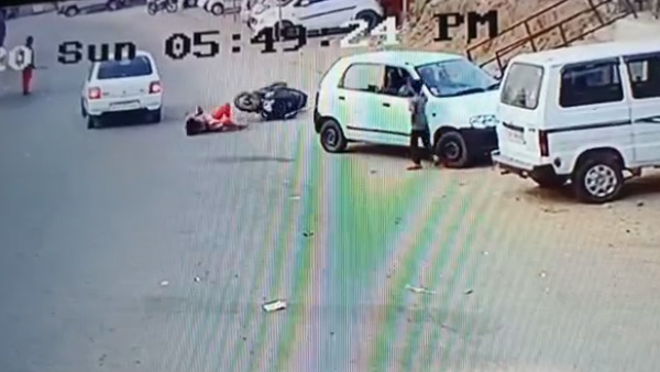 Car And Scooty Accident In Mudigere