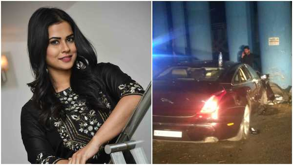 Actress Sharmiela Mandres Car Got Accident In Vasanth Nagar