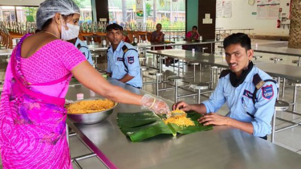 Banana Leaves Used Instead Plates For Food In Mahindra Groups Factory Canteens