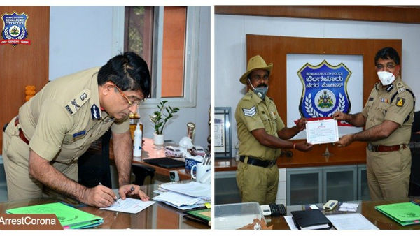 Bangalore City Police Appreciated Head Constable S Kumaraswamy