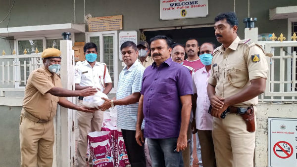 Police Distributing Food Groceries To Home Guard Staff In Ramanagara