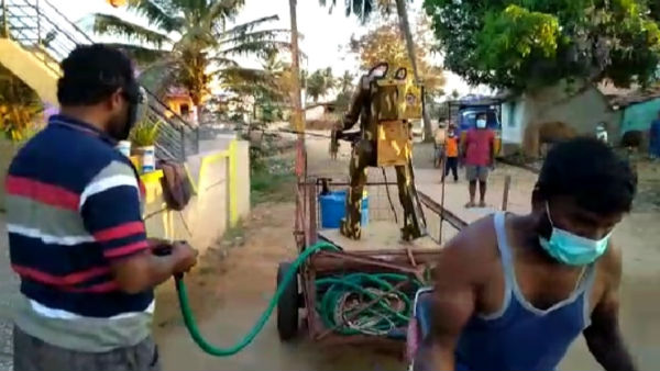 Chemical Spraying Using Robo Technology By Robo Manjegowda In KR Pete