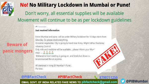 Maharashtra Govt Clarifies No military lockdown of Mumbai, Pune