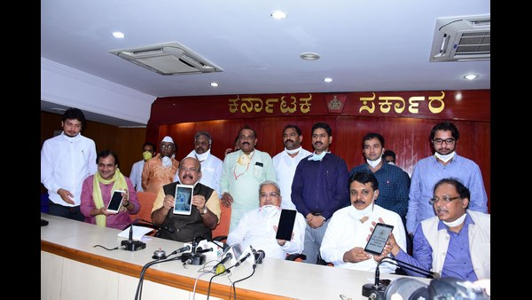 DCM Govind Karjol releases Tab Phone which monitors Covid19 infected