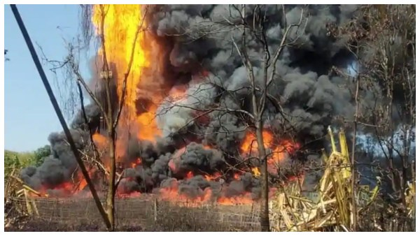Massive Fire Broke Out At Gas Well Of OIL At Tinsukia District Assam