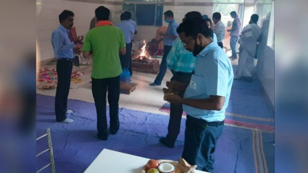 Mysuru: Shanti Homa And Pooja For Jubiliant Factory Reopen