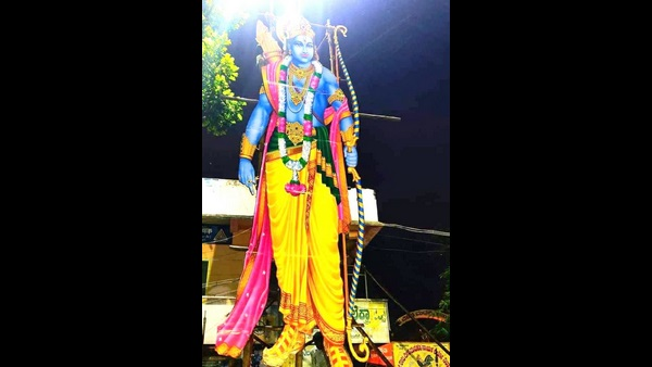 Davanagere: Installed 30 Feet High Statue Of Sri Rama