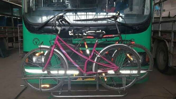 BMTC Installed Cycle Stand In Bus