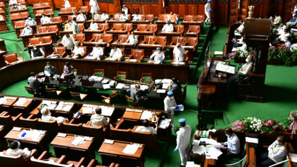 assembly session started with maintaining social distance in fear of spreading coronavirus
