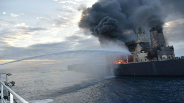 IOC Oil Tanker Burst Into Flames Near Sri Lanka Eastern Coast, Kerala On Alert