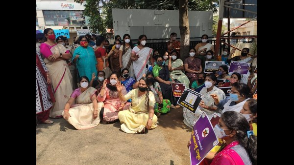 Karnataka Women Congress Party workers staged protest in front of RR Nagar police station