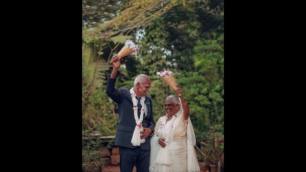 Elderly Couple Pose For Wedding Photoshoot After 58 Years Of Marriage