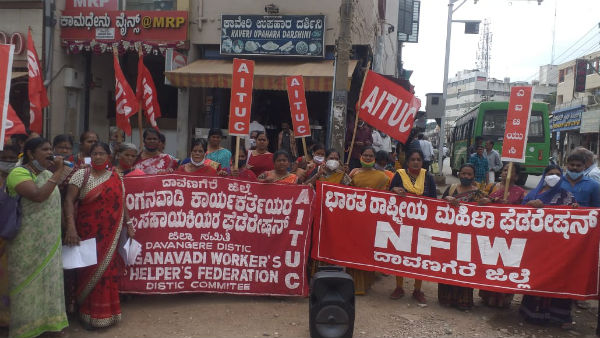Protests In Davanagere In Support Of Farmers Struggle Of Delhi