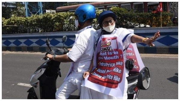 ತೈಲ ಬೆಲೆ ಏರಿಕೆ ವಿರುದ್ಧ ಪ್ರತಿಭಟನೆ: ಎಲೆಕ್ಟ್ರಿಕ್ ಸ್ಕೂಟರ್ ಸವಾರಿ ಮಾಡಿದ ಮಮತಾ ಬ್ಯಾನರ್ಜಿ
