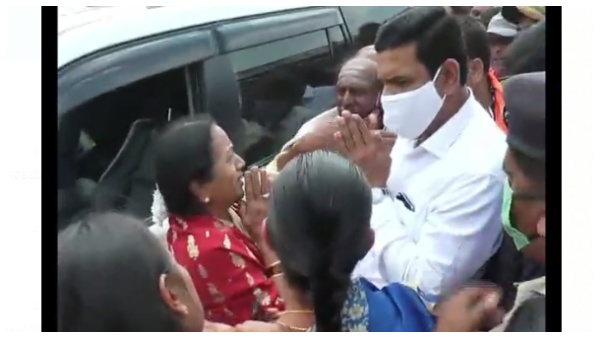 Woman cries In Front Of BY Vijayendra seeking justice