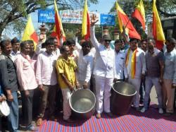 Senior Kannada Activist Vatal Nagaraj Protests In Mysore Railway Station