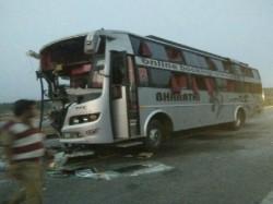 People Injured As Bus Rams Lorry Near Bellur Cross Mandya