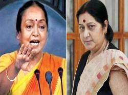 Sushma Attacks Meira Kumar Congres Takes Sushma Down Memory Lane