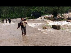 Heavy Rain In Madikeri Mother And Son Saved Miraculously From Flood