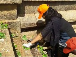 Davanagere Zp Ceo Aswathi Cleaned Historic Purgatory In Jagaluru