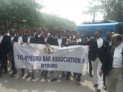 Protest Between Lawyers And Police In Mysuru