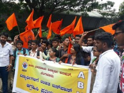 Abvp Protests Against Government Seeking Free Bus Pass