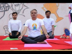 International Yoga Day Union Minister Ananth Kumar Performs Yoga