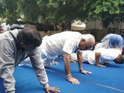 International Yoga Day Yeddyurappa Performs Yoga In Bjp Office