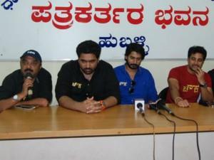 Kannada Movie Chowka Team In Hubballi For Celebration