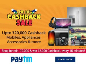 Paytm The Big Cashback Sale Rs 20000 Cashback 70 Off Till 21st April Only