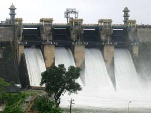 Harangi Reservoir Filled To Capacity Crest Gates Opened