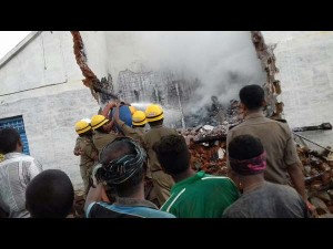 House Destroyed In A Cylinder Blast At Nagamangala Mandya