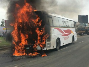 Ksrtc Airavat Bus Catches Fire