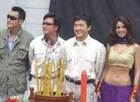 The Myth team : Hong Kong actor Leung KaFai, director Stanley Tong, Jackie Chan, and Indian actress Mallika Sherawat