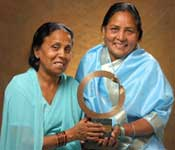 Champa devi and Rashida with prestigious Goldman Environmental award