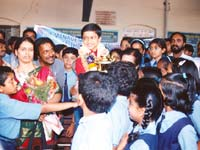 Girish Koushik in a happy moment with his friends and teachers