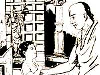 Child Madhwacharya arguing with the Guru